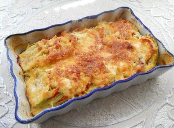 Запеканка с кабачками и помидорами сыром в духовке с фото